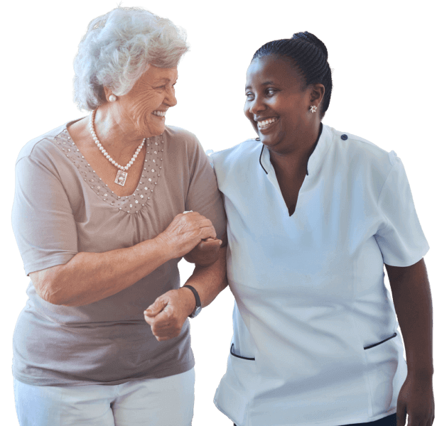 elderly woman and a caregiver happy talking