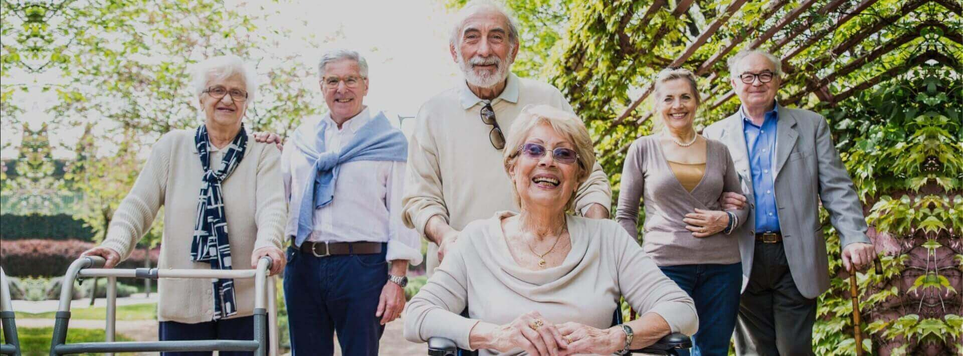 group of happy elderlies